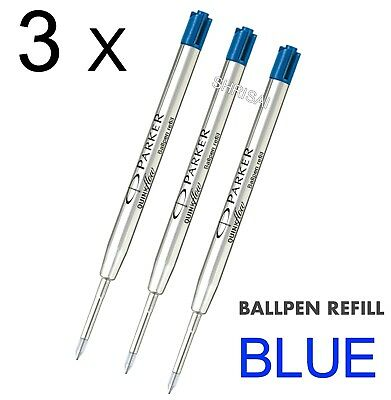 3 X Parker Ball Point Pen Refill Biro Quink Ink - BLUE MEDIUM NIB