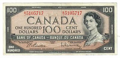 1954 Bank Of Canada Banque Du Canada $100 One Hundred Dollar Note