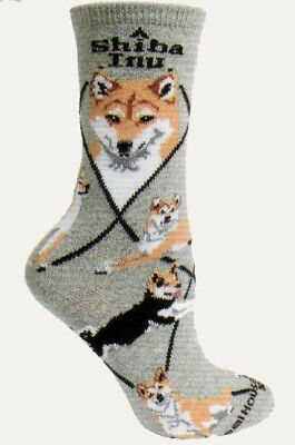 Shiba Inu Dog Breed Gray Lightweight Stretch Cotton Adult Socks