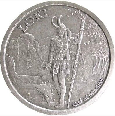1 oz Antique Norse God Series Loki Silver Round (New w/ CoA)