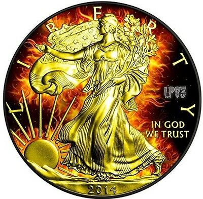 2014 1 Oz Silver $1 BURNING EAGLE Coin WITH Ruthenium AND 24K GOLD GILDED.
