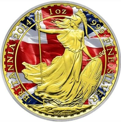 "2014 1oz £2 GBP Silver Coin - UK ""Patriotic Britannia"" WITH 24K GOLD. Last Piece"