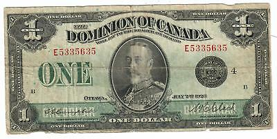 1923 Dominion Of Canada $1 One Dollar Note Dc25N