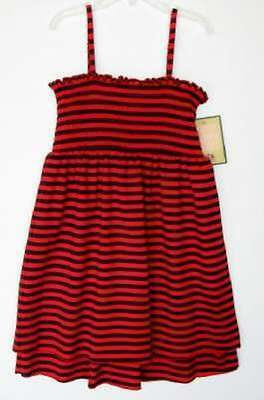 Juicy Couture Girls Beach Baby Red/Navy Striped Coverup Dress (L) NWT