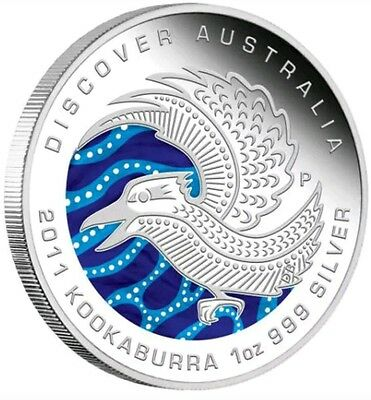 2011 1 Oz PROOF Silver Discover Australian Kookaburra Coin WITH BOX AND COA..