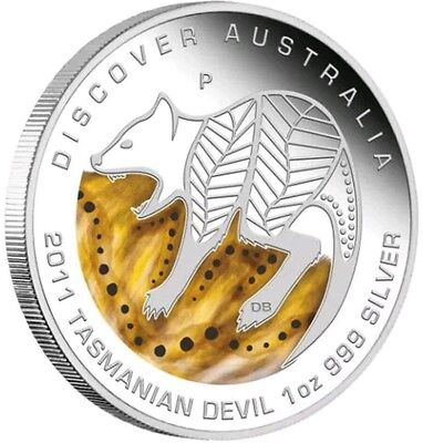 2011 1 Oz PROOF Silver Discover Australian Tasmanian Devil Coin WITH BOX AND COA