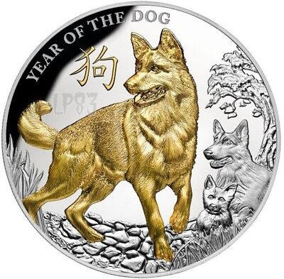 2018 5 Oz Silver $8 NIUE YEAR OF THE DOG Lunar Coin.