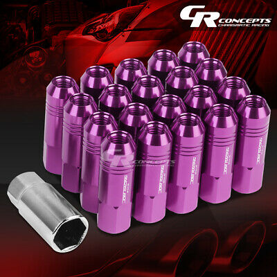 Jdm Purple 20Pcs M12X1.5 20Mm Od 60Mm Tall Open End Aluminum Lug Nuts+Adapter