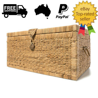 Basketware Trunk Rustic Basket Storage Wicker Chest Box Laundry Indoor New Case