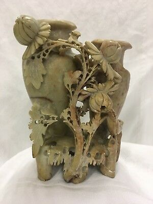 Vintage Asian Hand Carved Soapstone Flowers and Bird Double Vase