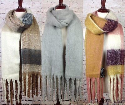 Faux Mohair Womens Soft Extra Long Winter Scarf Luxurious Shawl Fringe Oversized