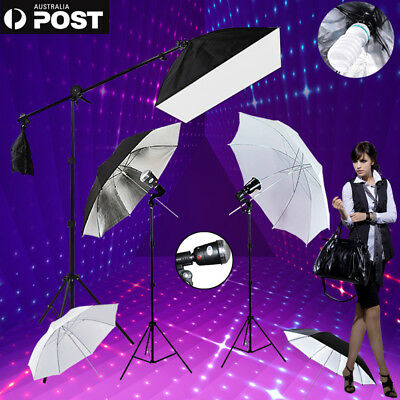 Studio Photo Soft Box Boom 4XUmbrella Flash Strobe Light Stand Lighting Kit-NEW