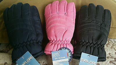 Snow ski gloves PINK  NAVY  BLACK SIZES   S/M OR M/L NEW EXPLORE BY DENT
