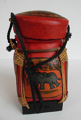 Vintage Handmade Paper Mache Container Elephant motif Indian/South East Asia