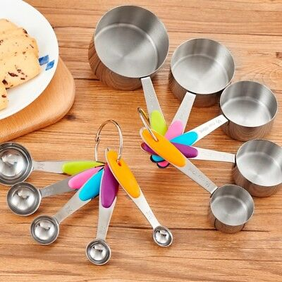 5pc Stainless Steel Kitchen Tool Set Measuring Cups Spoons Baking Tools Teaspoon
