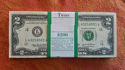 100 Crisp New 2003 $2.00 Bills In Sequence   L 43216501 A (To) L 43216600 A