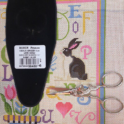 Bohin Rabbit Embroidery Scissors polished chrome nickel handles made in France