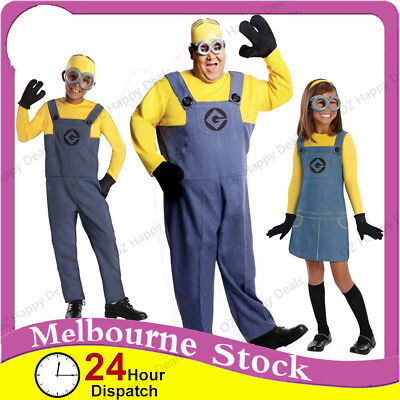 Fancy Dress Minion Costume Despicable Me Boys Girls Adult Men Kids Mens Man
