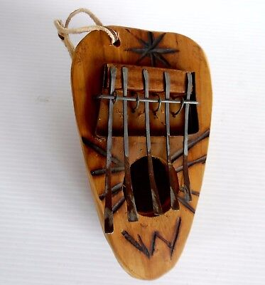 Vintage Hand Made GOURD KALIMBA Poker Design Great Rustic Appearance