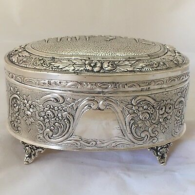 Antique Judaica Hebrew Germany Esrog Box 800 Silver Etrog Box on 4 Feet Ethrog