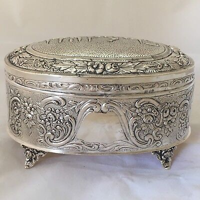 Antique Judaica Hebrew Germany Esrog Box Silver Etrog Box on 4 Feet Ethrog