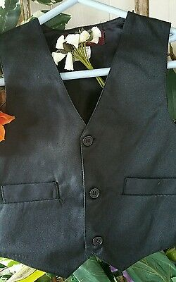 Size 0-2-4-5-8 boys basic  black vest with bow tie