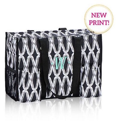 Thirty one zip top Organizing Utility tote 31 gift shoulder bag black links new