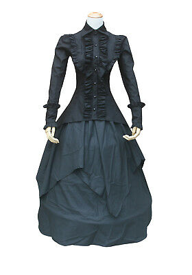 Ladies Victorian Vintage Gothic Punk  Black Ruffle Steampunk Blouse Shirt