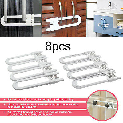 8pcs Locks U Shape Toddler Safety Cabinet Door Drawer Lock For Child Baby Kid