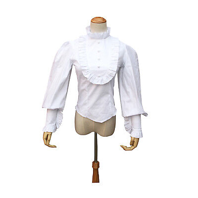 Victorian White Women Shirt Blouse Steampunk Gothic Cosplay Theater Punk Costume
