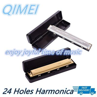 24 Holes Double Tremolo Harmonica Key of C Tone With Case And Cleaning Cloth OA