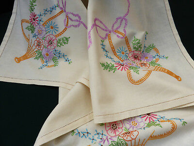 Vintage Lemon Cotton Tablecloth-Lovely Hand Embroidered Flower Baskets