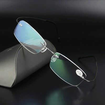 Ultralight Titanium Rimless Rectangular Reading Glasses Eyeglass Spectacles