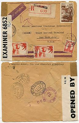 BERMUDA CENSOR INTERCEPTED 1943 FRENCH MOROCCO to USA REGISTERED...6852 IC
