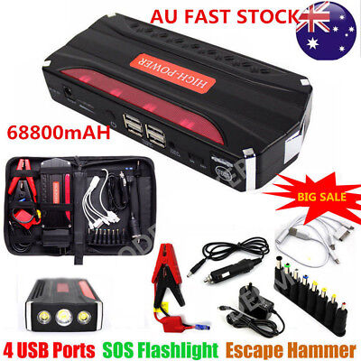 12V 68800mAh 4USB Vehicle Car Jump Starter Booster Battery Power Bank Charger AU