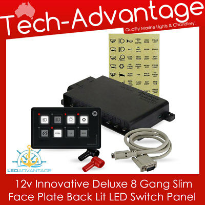 12V 8-Gang Modern Led Backlit Membrane Touch Boat/caravan Night Switch Panel