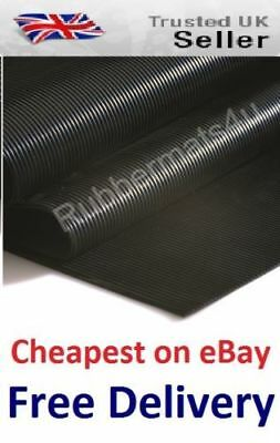 Lowcost AntiSlip FINE Ribbed Rubber Flooring Protection Matting 120cm wide x 3mm
