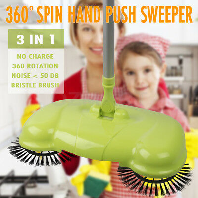 Hand Push Sweeper Broom Mop No Noise No Electricty Pig Bristle Brush 360° Spin