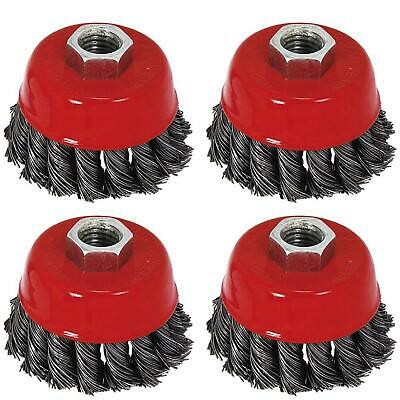 """Twist Knot Wire Wheel Cup Brush 4"""" M14 for 4 1/2"""" 115mm Angle Grinder 4 Pack"""