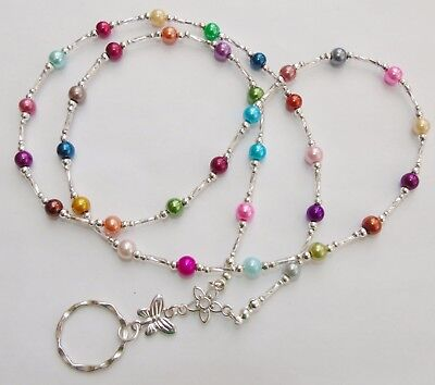 Handmade Beaded Spectacle / Glasses Chain Holder / Necklace. Multi-Coloured