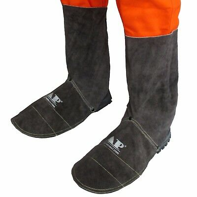 AP-9400B 20cm Brown FR Leather Welding Leggings and Spats / Shoe Cover Protector