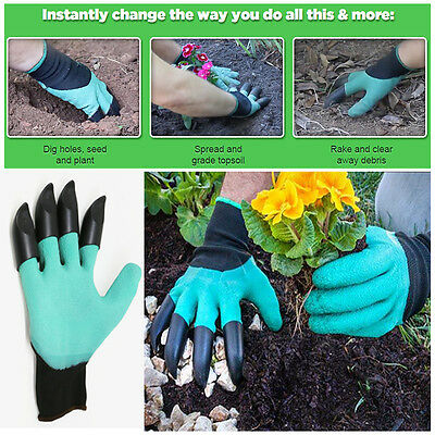 Garden Genie Style Gloves |  One Size Fits All | Claws for Digging on Right Hand