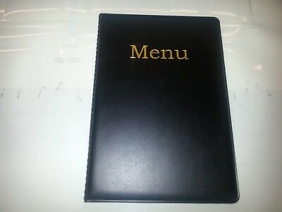 A5 Menu Cover/Folder In Black Leather Look Pvc- + Two A5 Pockets Welded To Spine