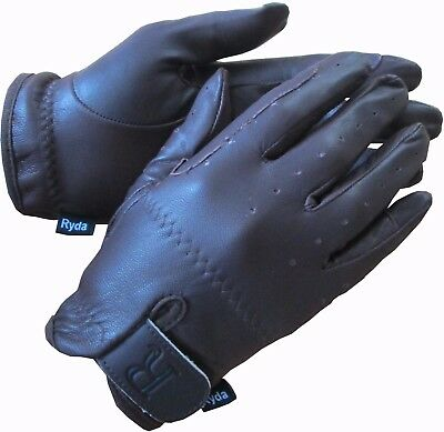 New RYDA Children's Leather Horse Riding Gloves Black Brown Small Medium Lge