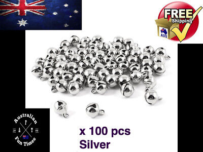 100 Pcs Silver Iron Loose Beads Christmas Jingle Bells Pendants Charms Xmas