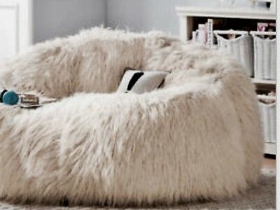LARGE WHITE FAUX FUR BEANBAG COVER CHAIR BEAN BAG FOR LOUNGE RUMPUS 130Hx120D