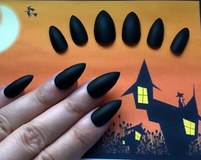 HALLOWEEN False Nails STILETTO (Or Any) Witch Claws Pointed Matte Black SALE