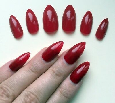 Hand Painted False Nails STILETTO (Or Any) Gloss Deep Red. Falsies Fake Nails UK