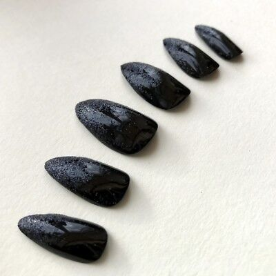 Hand Painted False Nails STILETTO. Witch Claws HALLOWEEN Black Glitter Ombre
