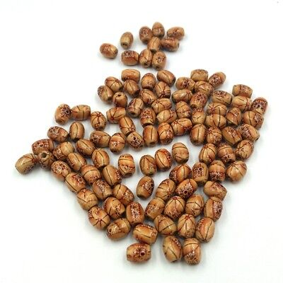 100pcs Printed Wooden Beads Large Hole European Beads Jewelry Making 10mm